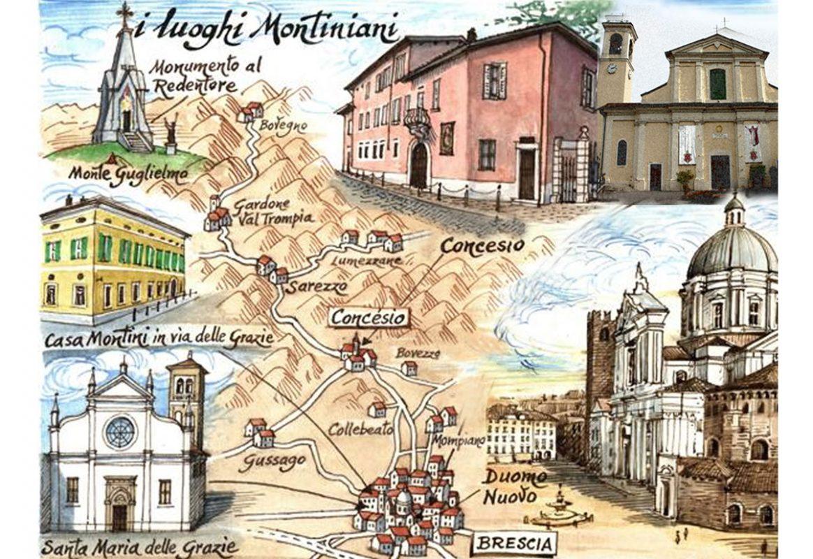 Mappa dei luoghi legati a Paolo VI a Brescia